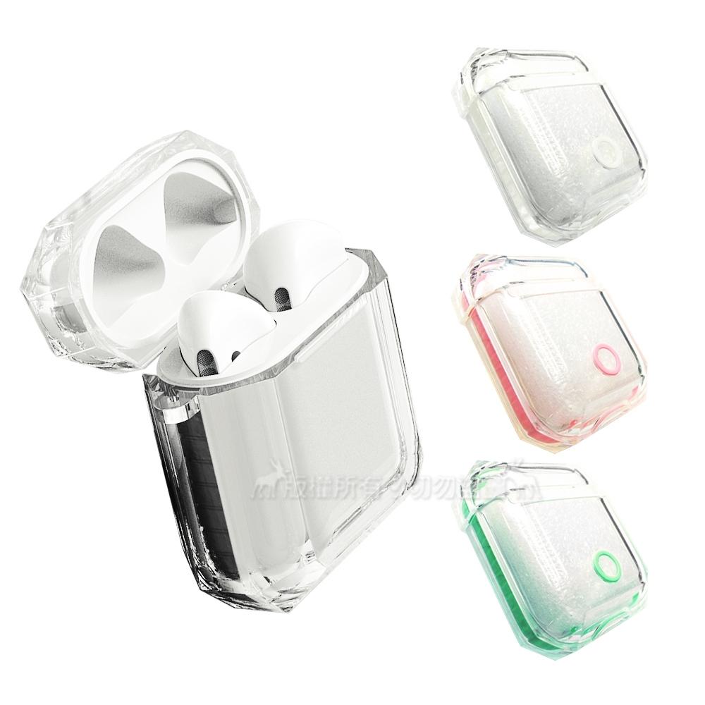 TPU軟式 AirPods 1/2代通用 彩色邊條透明保護套 耳機盒保護殼