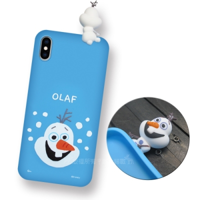 迪士尼授權正版 iPhone Xs / X 5.8吋 趴姿公仔手機殼 親膚軟殼(雪寶)
