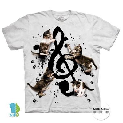 摩達客-美國進口The Mountain 貓與音符 純棉環保短袖T恤(大尺碼4 5XL)