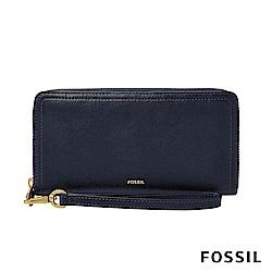 FOSSIL LOGAN 真皮系列多層拉鍊零錢袋長夾-海軍藍