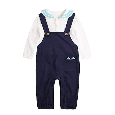 baby童衣 海軍風假兩件吊帶連身衣 82050