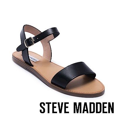 STEVE MADDEN-DONDDI經典真皮一字繫帶涼鞋-黑色