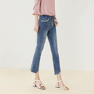 不規則剪邊褲腳綴珍珠口袋高彈小喇叭褲-OB大尺碼