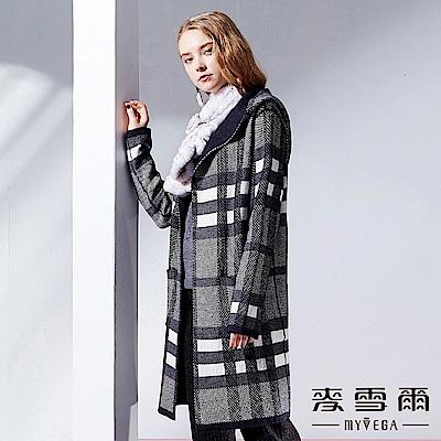 【麥雪爾】保暖羊毛開襟針織連帽外套-深藍