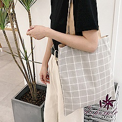 iSPurple 棋盤格紋 簡約帆布購物單肩包 灰