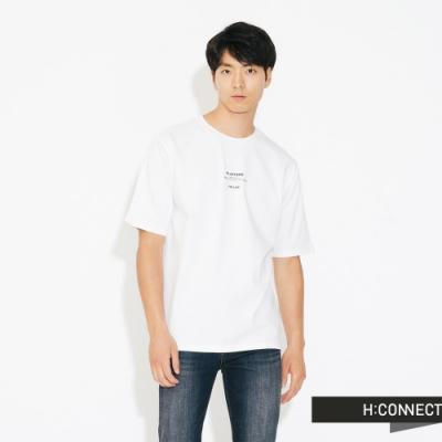 H:CONNECT 韓國品牌 男裝-簡約膠印標語T-shirt-白
