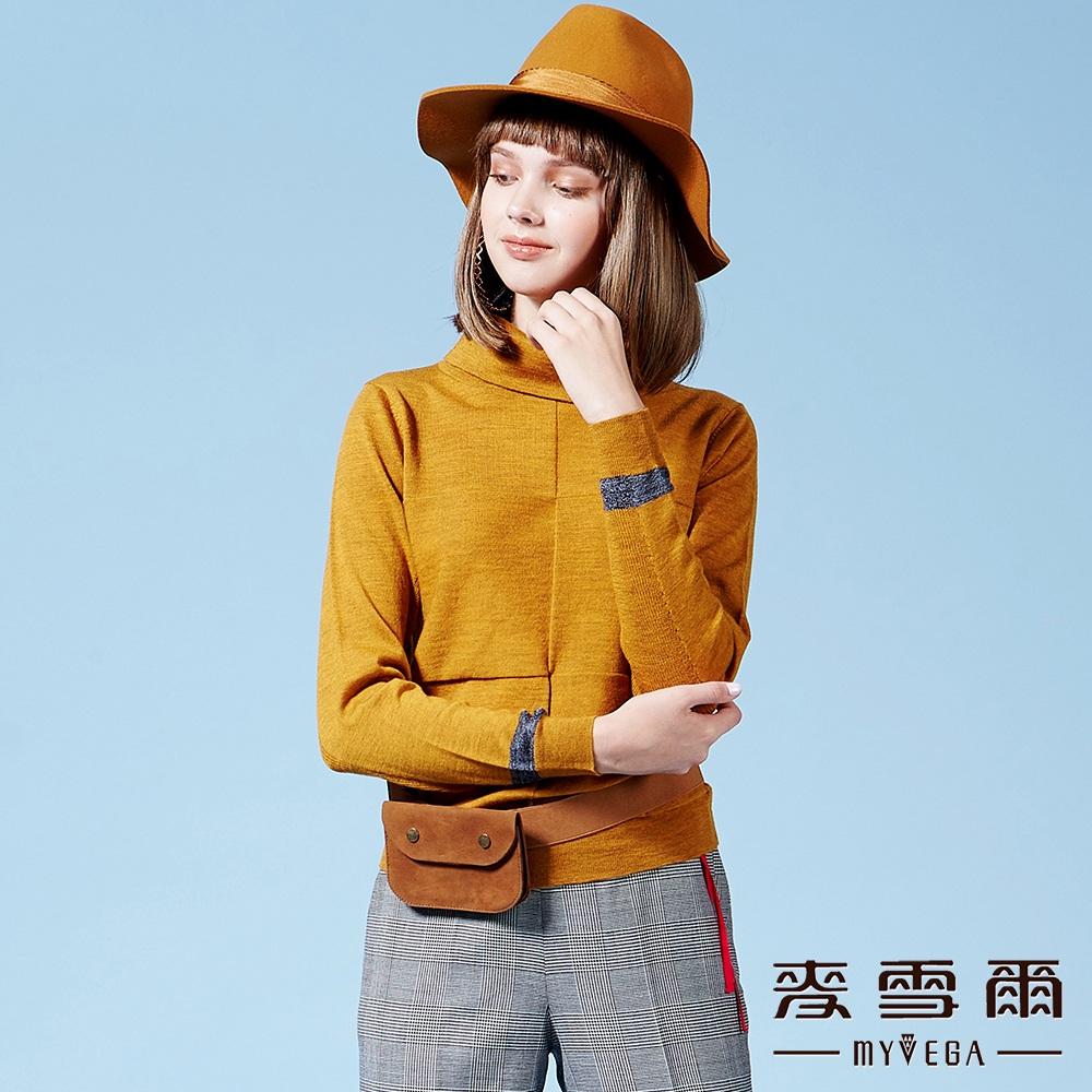 【麥雪爾】美麗諾羊毛高領針織上衣-黃