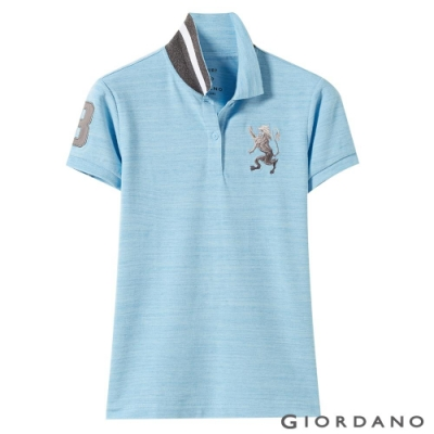 GIORDANO 女裝勝利獅王漸層刺繡彈力萊卡POLO衫-59 仿缎彩海水藍