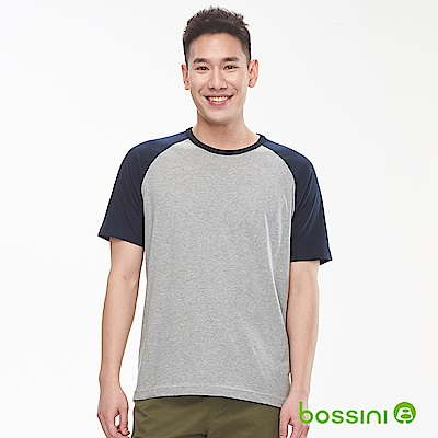 bossini男裝-牛角袖純棉圓領T恤淺灰