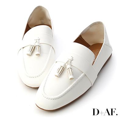 D+AF 日常焦點.麥穗流蘇可後踩樂福鞋*白