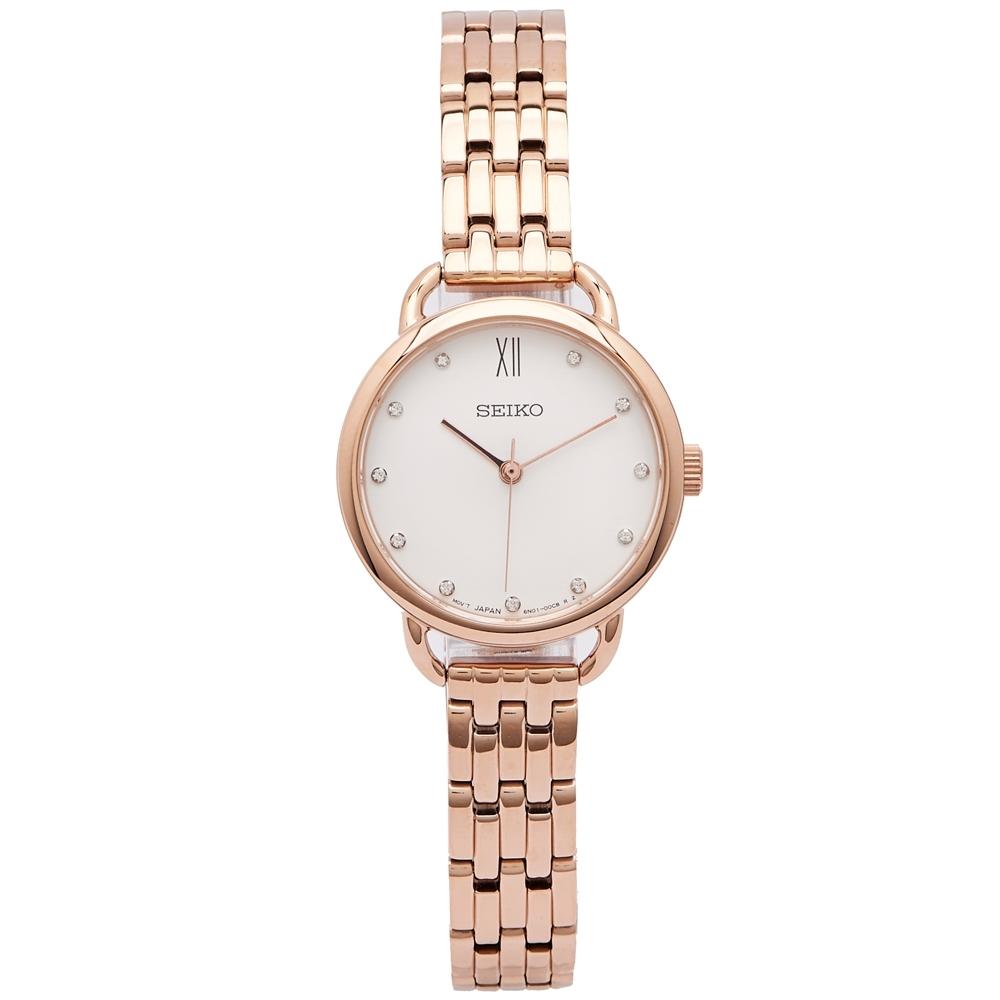 SEIKO 雅緻佳人水鑽款式手錶(SUR698P1)-白面x玫瑰金色/26mm