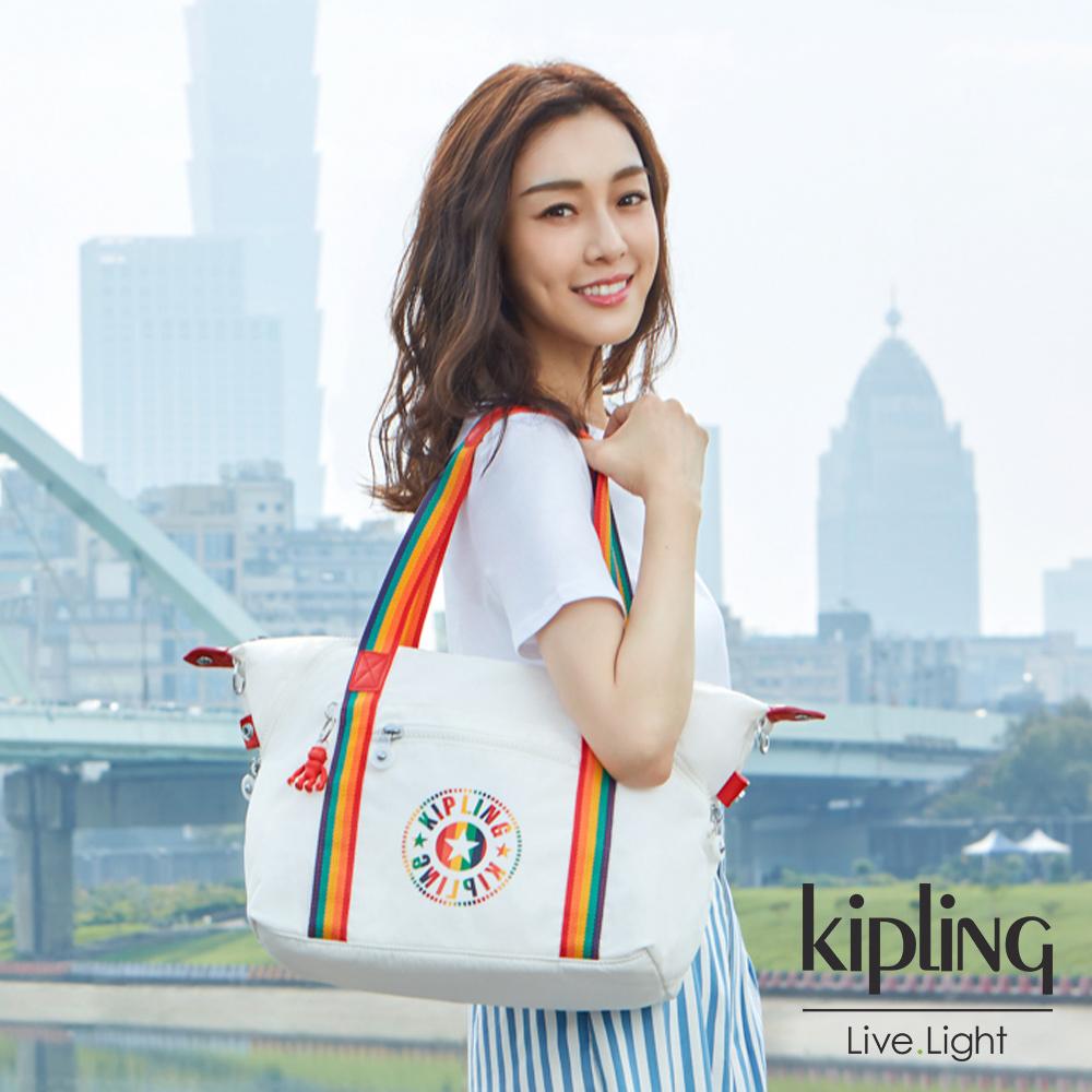 Kipling 致敬經典復古熱情彩虹織帶手提側背包-ART M