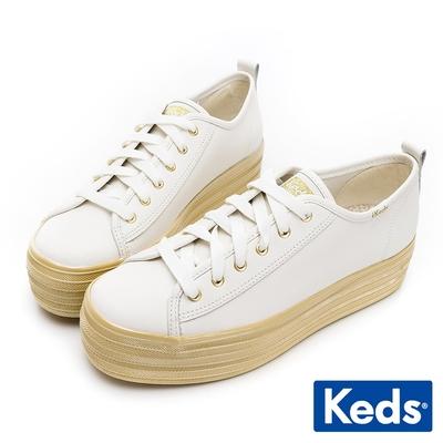 Keds TRIPLE UP 焦糖奶油皮革厚底休閒鞋-白