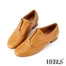 HERLS 經典學院 內真皮沖孔無鞋帶圓頭牛津鞋-駝色