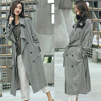 外套-亞麻格子寬鬆風衣中長版-W8802-設計所在