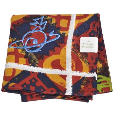 VIVIENNE WESTWOOD 幾何繽紛塗鴉圖騰大行星LOGO刺繡帕領巾(橘紅系)