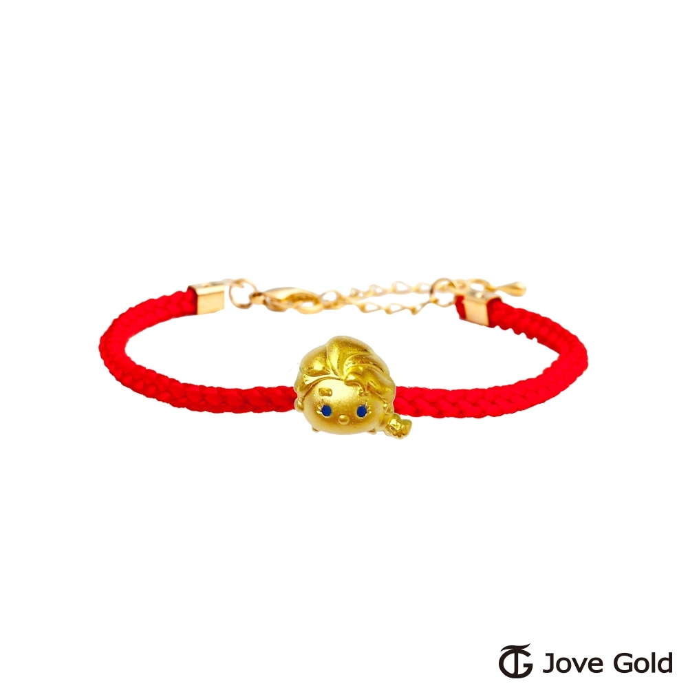 Disney迪士尼系列金飾 TSUM艾莎公主黃金串珠 編繩手鍊款