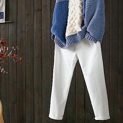 寬鬆棉質加絨休閒哈倫小腳長褲-設計所在