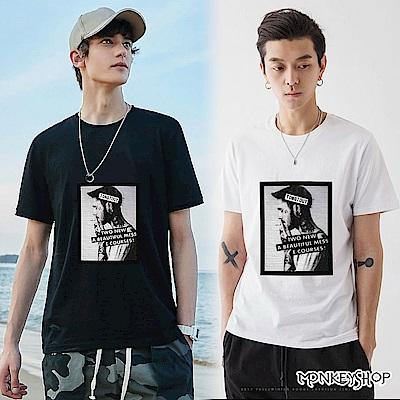 Monkey Shop 男女情侶美式風格抽菸人像印花短袖T恤-2色