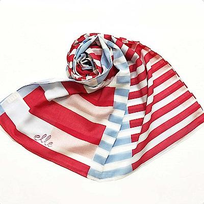 ELLE春夏季新款休閒風線條印花披肩-紅/藍