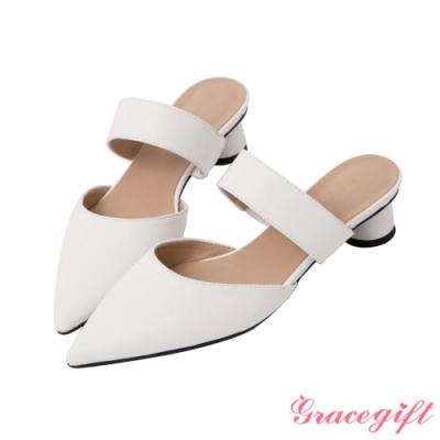 Grace gift-尖頭寬帶中跟穆勒鞋 白