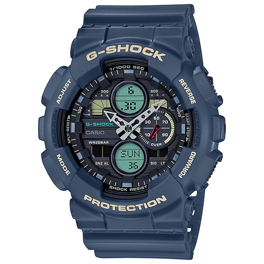G-SHOCK 超人氣雙顯復古撞色運動錶(GA-140-2A)-51.2mm