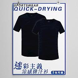 NEW FORCE 迷彩主義涼感透氣吸濕排汗衫-藍黑
