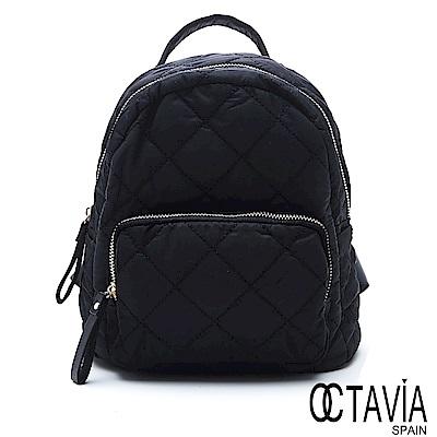 OCTAVIA 8 - 厚片吐司 菱格鋪棉極簡迷你小後背包 - 軟實黑