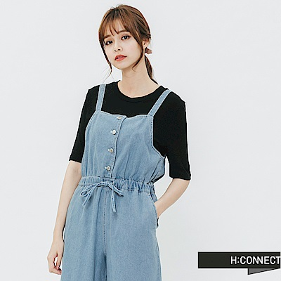 H:CONNECT 韓國品牌 女裝-細肩排扣連身寬褲-藍