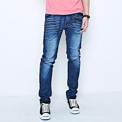 EDWIN E-F 機能多袋3D窄直筒牛仔褲-男-中古藍