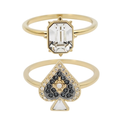 SWAROVSKI 施華洛世奇 TAROT MAGIC璀璨水晶光芒黑桃造型金色戒指