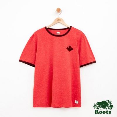 男裝Roots 度假小屋短袖T恤-紅色
