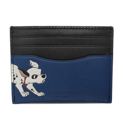 COACH x Disney黑藍真皮101忠狗一片式雙面票卡夾