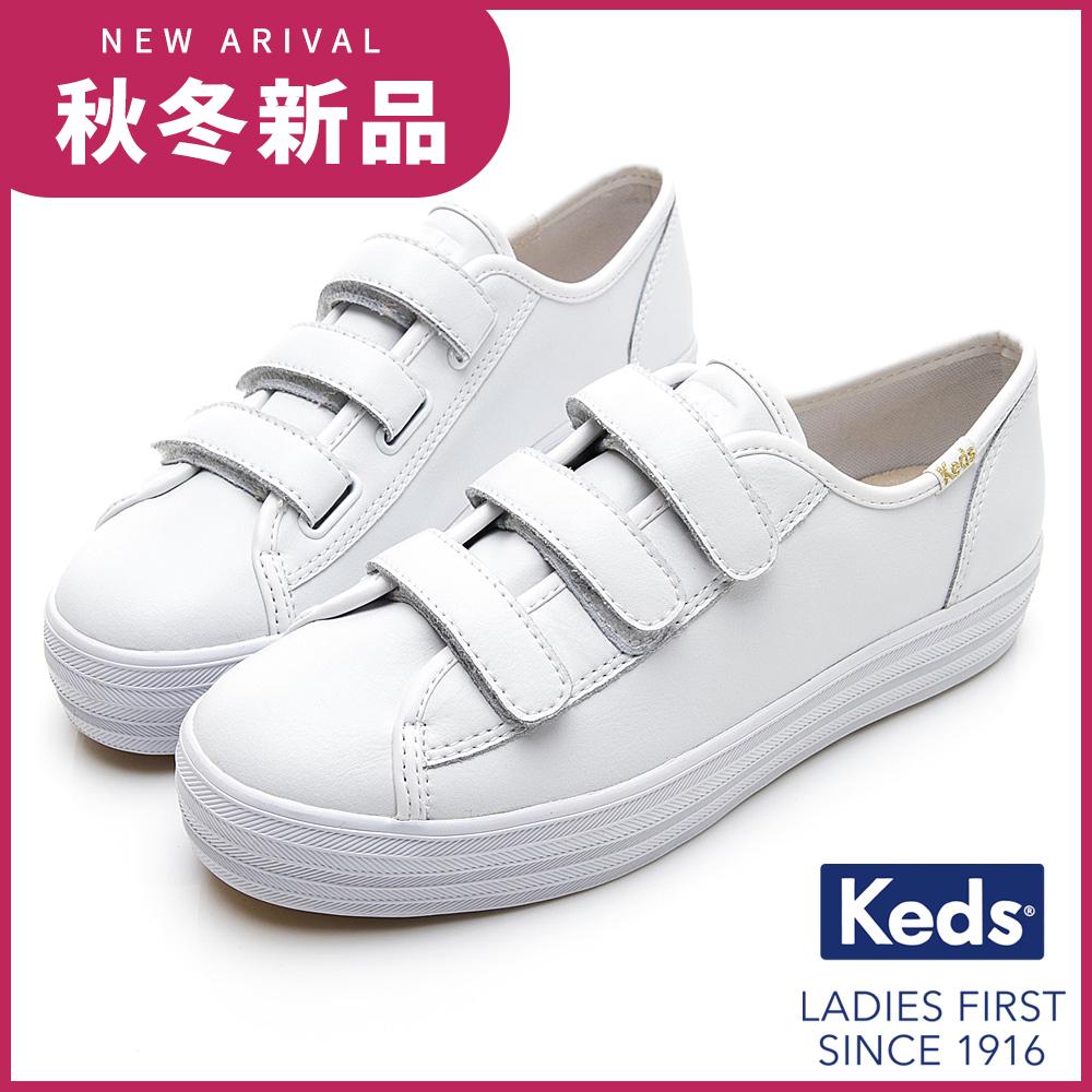 Keds TRIPLE KICK 時尚皮革厚底魔鬼氈休閒鞋-白