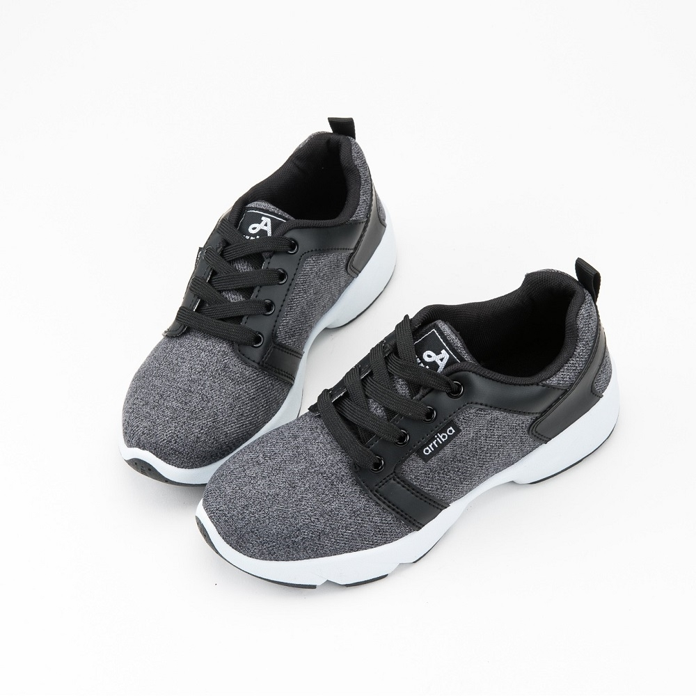 ARRIBA艾樂跑女鞋-休閒運動鞋 慢跑鞋-灰/黑(AB8037)