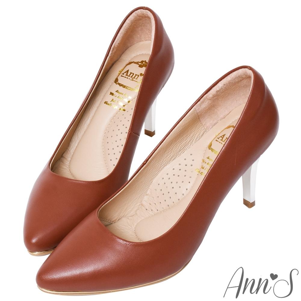Ann'S優雅韻味-頂級小羊皮夾心電鍍銀跟尖頭鞋-棕