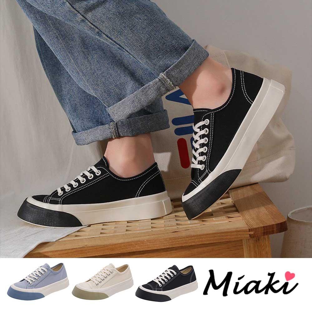 Miaki-帆布鞋.圓頭加厚底舒適休閒鞋 (黑色系)