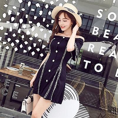 DABI 韓系氣質性感一字領單排扣修身顯瘦連身裙短袖洋裝