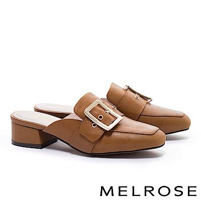 拖鞋 MELROSE 簡約時尚知性金屬大方飾釦繫帶粗低跟穆勒拖鞋-咖