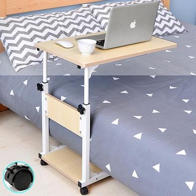 多功能高低床邊桌+移動輪 (書桌懶人桌床上桌/升降學習桌用餐桌/工作桌筆電桌電腦桌辦公桌/沙發桌演講桌講台)