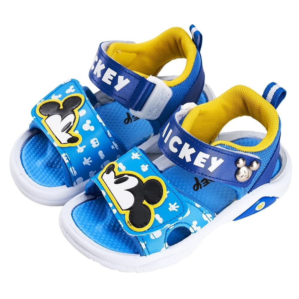 迪士尼童鞋 米奇 魔鬼氈軟Q涼鞋-藍(柏睿鞋業)