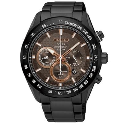 SEIKO精工 Criteria 太陽能計時手錶-鍍黑/43mm(SSC587P1)