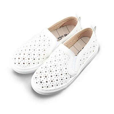 BuyGlasses 透氣舒適星星兒童懶人鞋-白