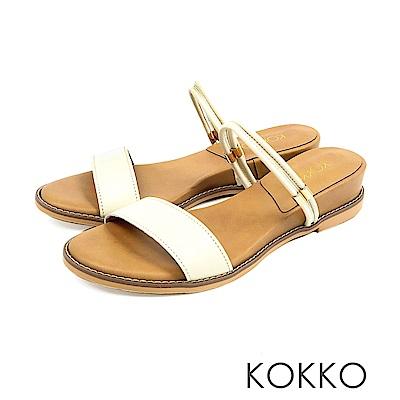 KOKKO - 目光迷離二穿微增高牛皮平底涼鞋-鴿子白