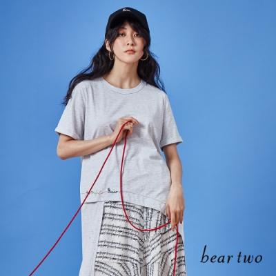 beartwo-直條不規則剪接下襬上衣-灰