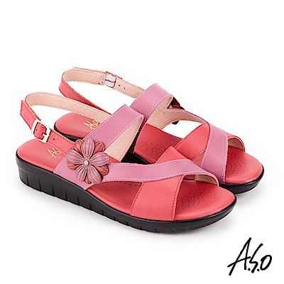 A.S.O 希臘渡假 花飾撞色全真皮記憶鞋墊休閒涼鞋 紅
