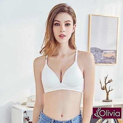 Olivia無鋼圈3D輕巧美背三角杯內衣-白色