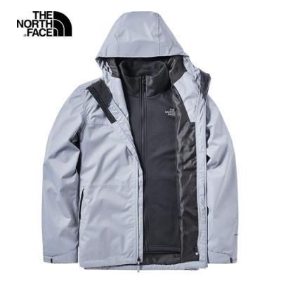 The North Face北面男款灰色防風防水三合一外套|3V9BV3T