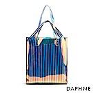 達芙妮DAPHNE-方形幾何條紋透明子母肩背包-藍色