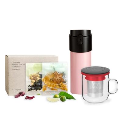 【PO:Selected】丹麥POx小草作果乾禮盒組(12oz保溫泡茶杯-粉+350ml泡茶玻璃杯-紅)